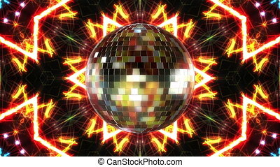 disco bal, omwenteling, lus, animation., 3d, render