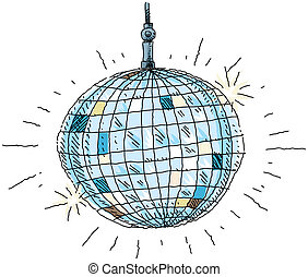 Disco Ball - A cartoon disco ball.