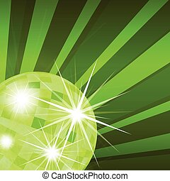 Disco ball abstract vector background with burst rays