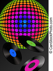 Abstract disco ball and records with different colored labels