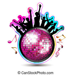 Disco ball and silhouettes - Dancing silhouettes with disco...