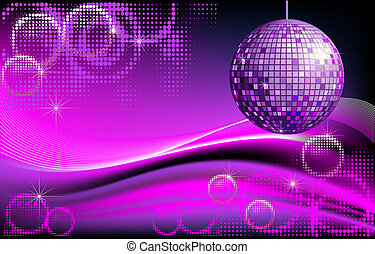 Disco background with mirror ball and abstract waves and halftones