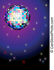 Disco background with mirror ball. Vector illustration.
