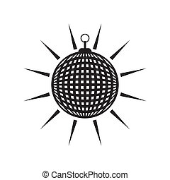 Disco ball - Black vector mirror disco ball icon isolated