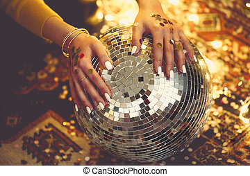 Disco ball blurred background for poster