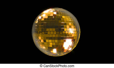 Disco ball golden rotating looped 4K.