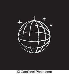 Disco ball icon drawn in chalk. - Disco ball hand drawn in...
