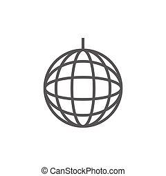 Disco ball line icon. - Disco ball thick line icon with...