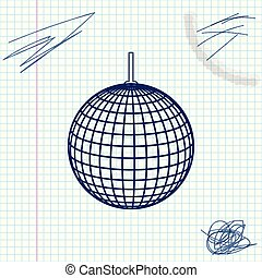 Disco ball line sketch icon isolated on white background. Vector Illustration
