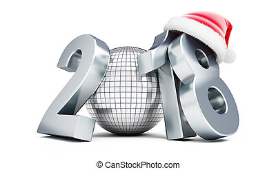 disco ball new year 2018 santa hat  on a white background 3D illustration, 3D rendering
