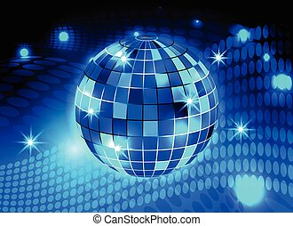 Disco ball night party blue lights background