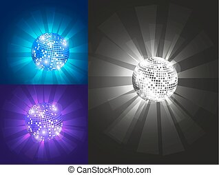 Disco ball, set, vector, eps 10