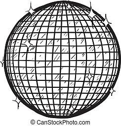 Disco ball sketch - Doodle style retro disco ball in vector...