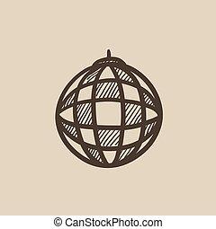 Disco ball sketch icon. - Disco ball vector sketch icon...
