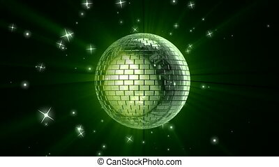 Disco ball - Rotating shining disco ball with flying stars