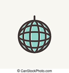 Disco ball thin line icon - Disco ball icon thin line for...