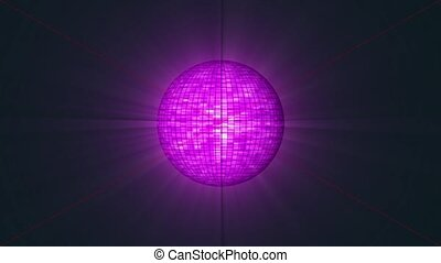 Disco Ball violet color. Looping