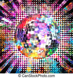 Disco ball with light and color background