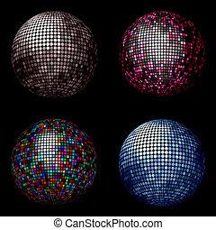 Disco balls - Various different coloured disco balls