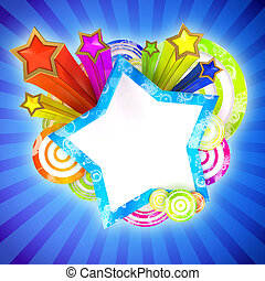 Disco banner with beautiful colored stars and stripes - ...