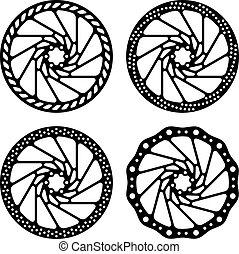 disco, bicicleta, silueta, vetorial, freio, pretas
