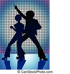 Disco Blue - Silhouette Illustration of couple dancing on...