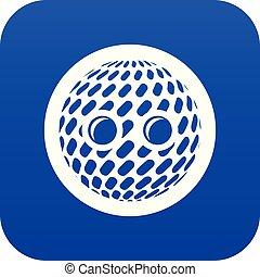 Disco button icon blue vector