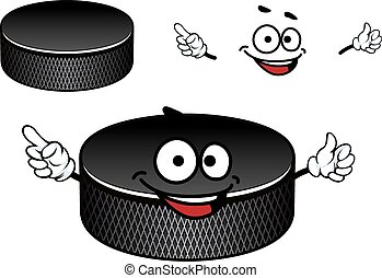 disco, carácter, hielo, caucho, negro, hockey, caricatura