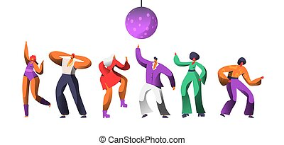 Disco Character Dance at Retro Concert. Disco Ball Over Group of People Dancing. Happy Man Woman Clubbing Nightlife Concept for Print Banner. Flat Cartoon Vector Illustration