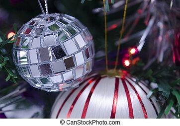 Disco Christmas ball on a fir tree