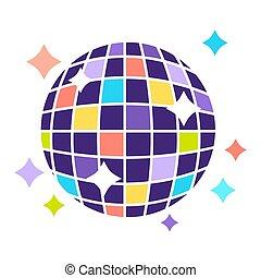 disco, clair, isolé, shines, boule colorée, illustration