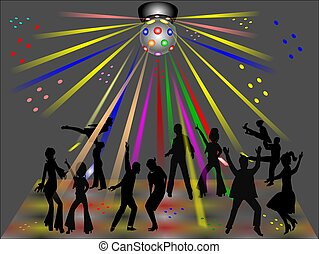 disco club - disco dancers in silhouette in club