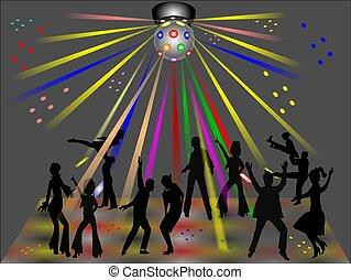 disco club - disco dancers in silhouette in club
