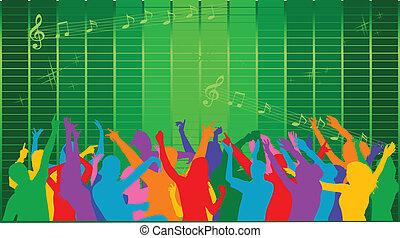 disco, -, coloré, silhouettes, de, gens