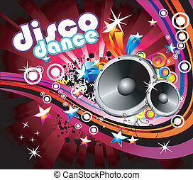 Disco Colorful Flyer Background - Abstract Music and Disco...