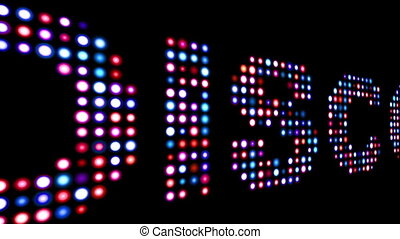 Disco colorful led text over black