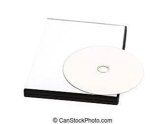 disco compacto, arriba, simulado, blanco