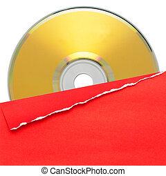 disco compacto, cubierta, rojo, blanco
