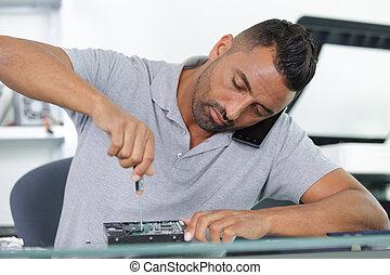 disco, computadora, roto, fijación, reparador, duro