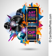 Disco Dance Art Design Poster with Abstract shapes and drops of colors