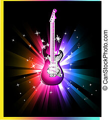 Disco Dance Background with Electric Guitar - Colorful Disco...