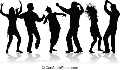 Disco dance - black silhouettes