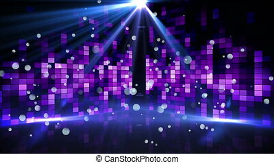 Digital animation of a dance floor filled with blinking purple screens and a shining disco ball above the dance floor