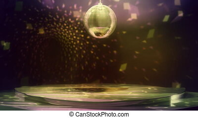 Looping animation of a stuffy, slightly run down dance floor with multi-colored lights sparkling everywhere.
