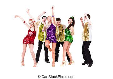 Disco dancer team dancing