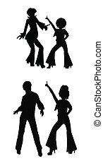 disco dancers in silhouette