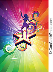 Disco Dancing girl colorful vector