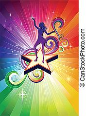 Disco Dancing girl colorful vector