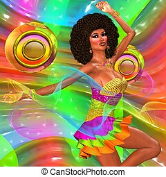 Disco dancing girl on abstract back