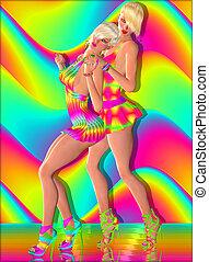 Disco dancing girls, vintage look